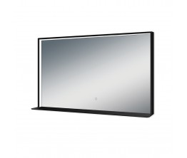Kibo Mirror with Shelf - 1200 x 700 - matte black frame