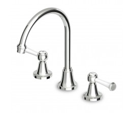 Agorà Classic Basin Set with White Ceramic Lever handles and High Spout