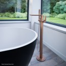Synergii Freestanding Bath Mixer with Handshower_Hero_Brushed Rose Gold